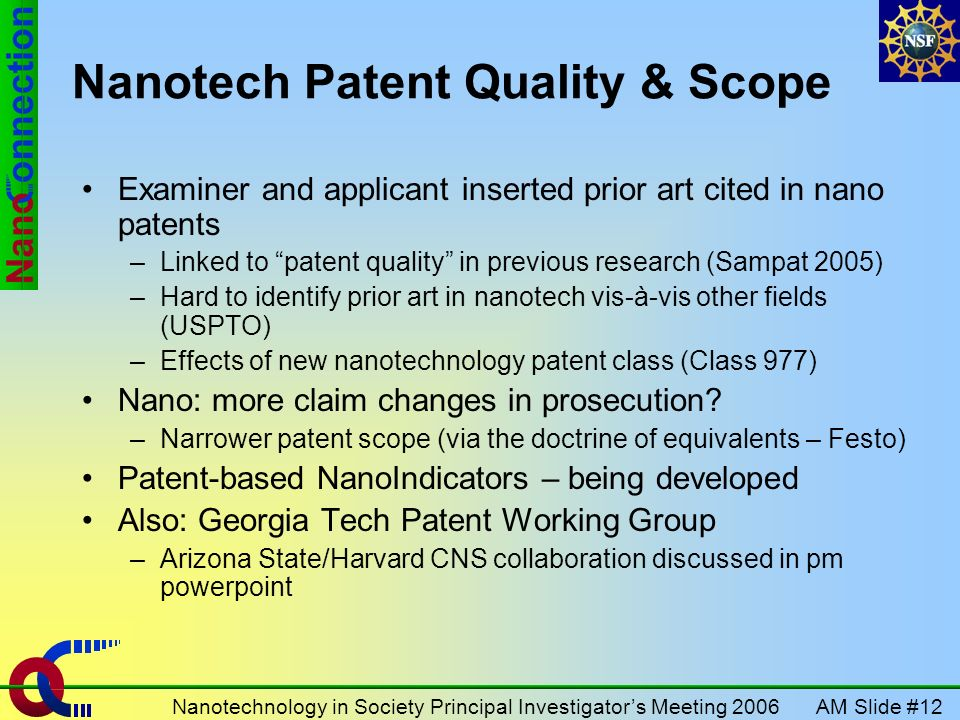 AM Slide #12Nanotechnology in Society Principal Investigators Meeting 2006 Nanotech Patent Quality & Scope Examiner and applicant inserted prior art c