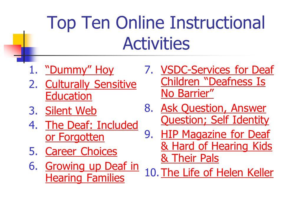 Top Ten Online Instructional Activities 1.Dummy HoyDummy Hoy 2.Culturally Sensitive EducationCulturally Sensitive Education 3.Silent WebSilent Web 4.T