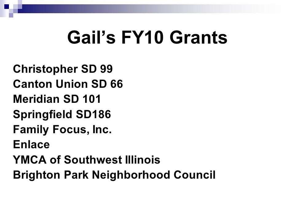 Gails FY10 Grants Christopher SD 99 Canton Union SD 66 Meridian SD 101 Springfield SD186 Family Focus, Inc.
