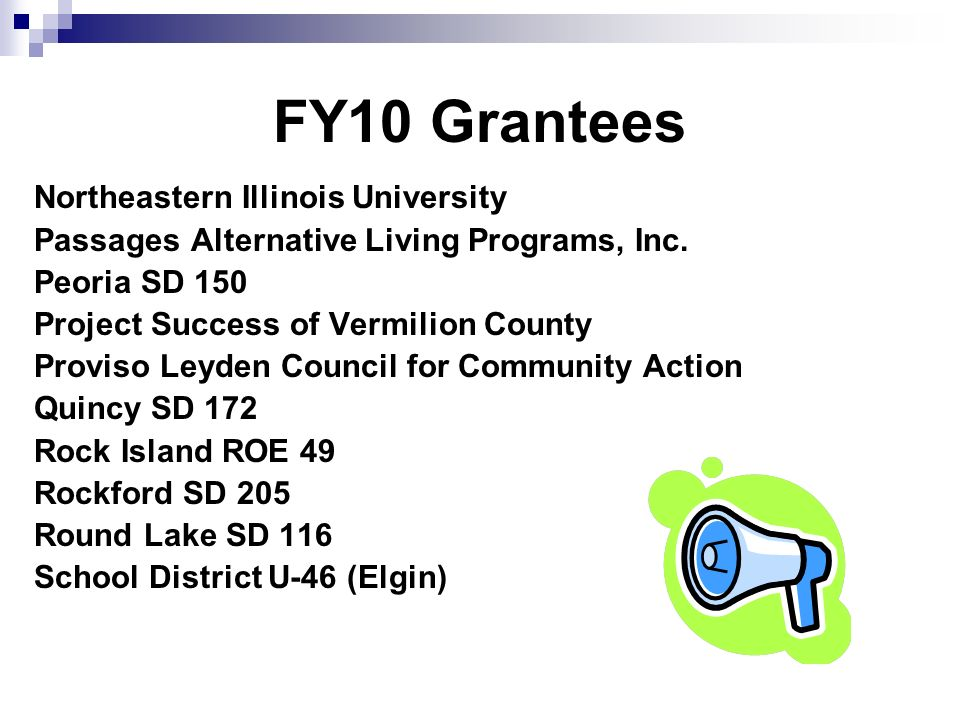 FY10 Grantees Northeastern Illinois University Passages Alternative Living Programs, Inc.