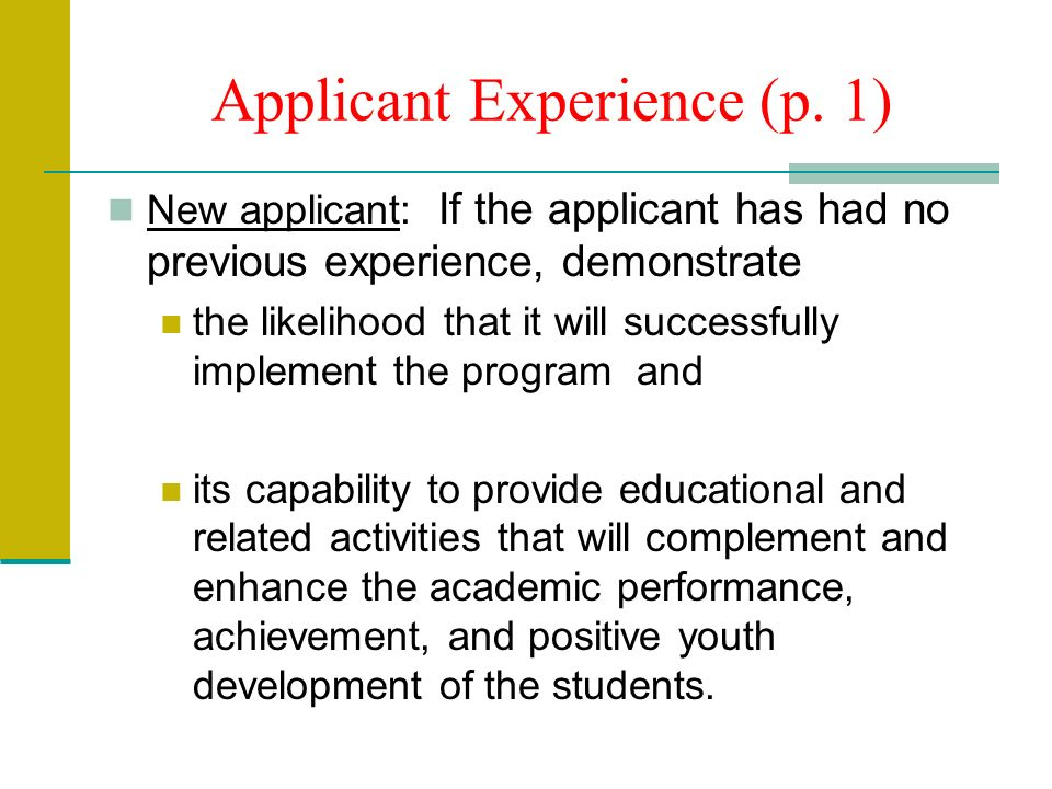 Applicant Experience (p.
