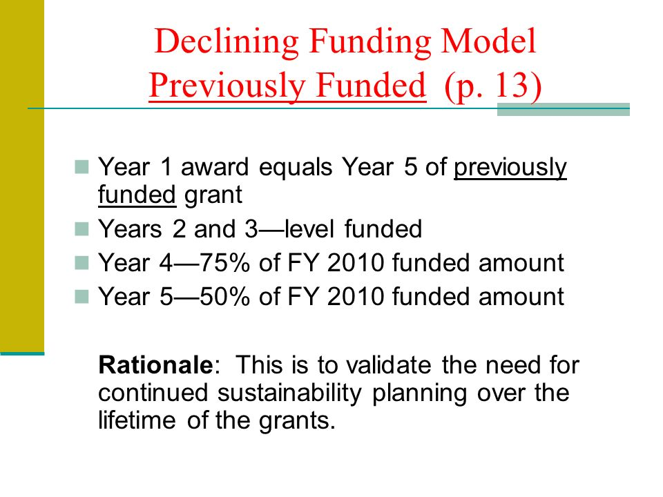 Declining Funding Model Previously Funded (p.