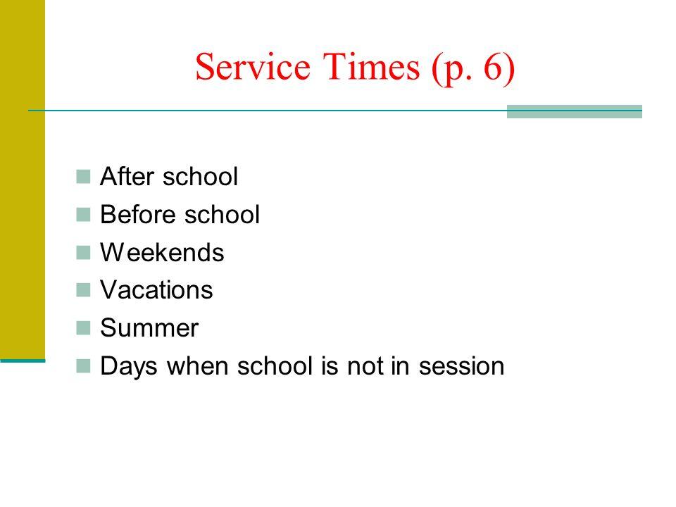 Service Times (p.
