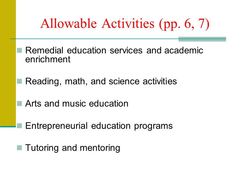 Allowable Activities (pp.