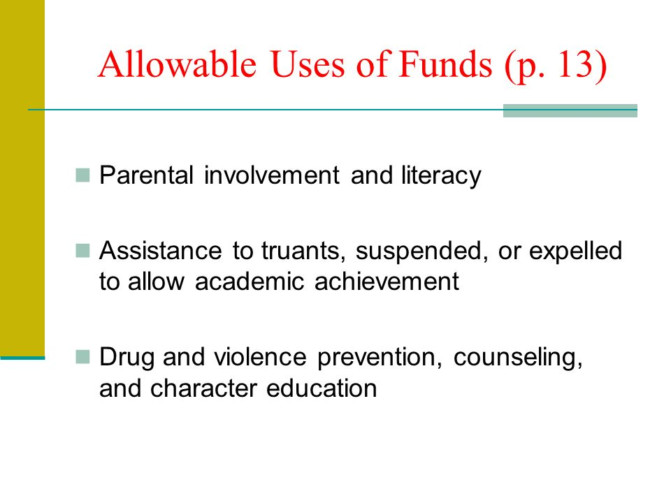 Allowable Uses of Funds (p.