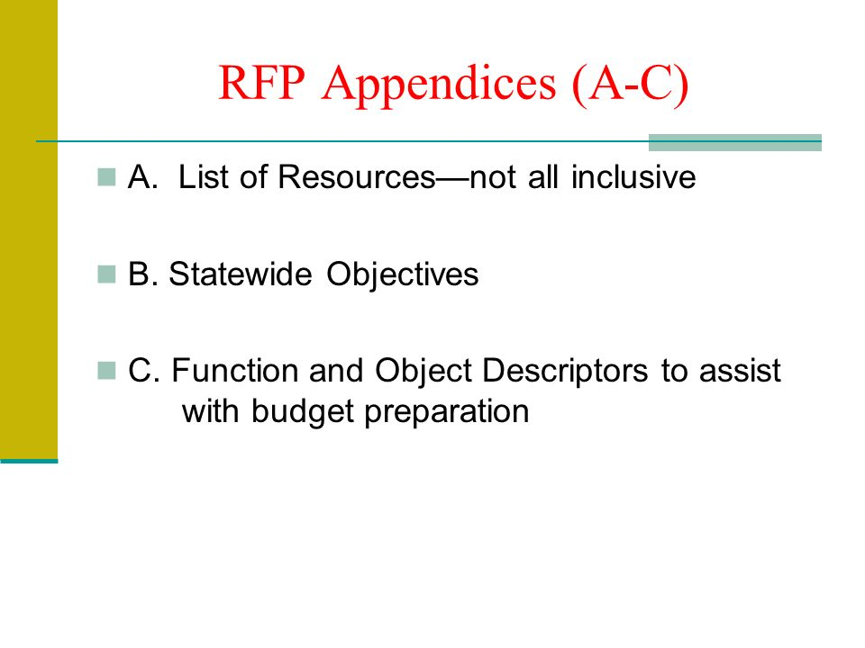 RFP Appendices (A-C) A. List of Resourcesnot all inclusive B.