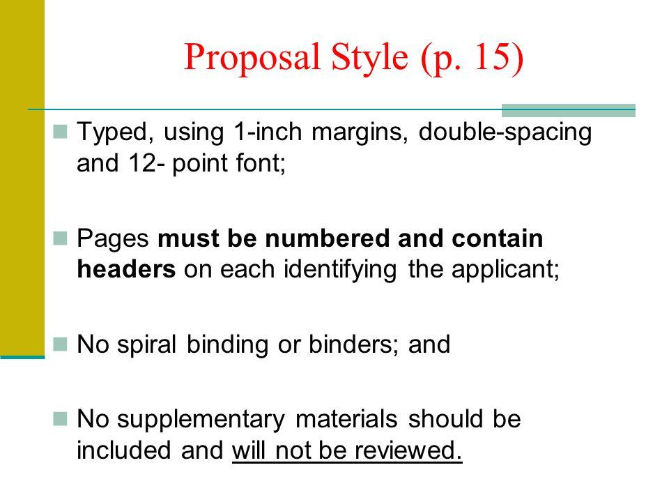 Proposal Style (p.
