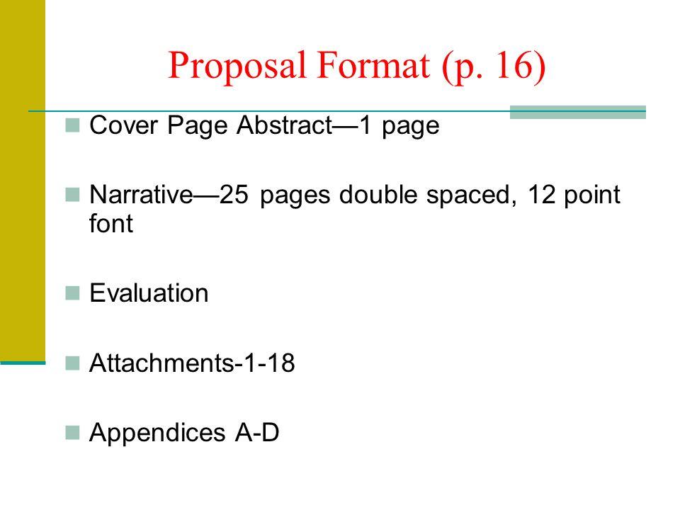 Proposal Format (p.