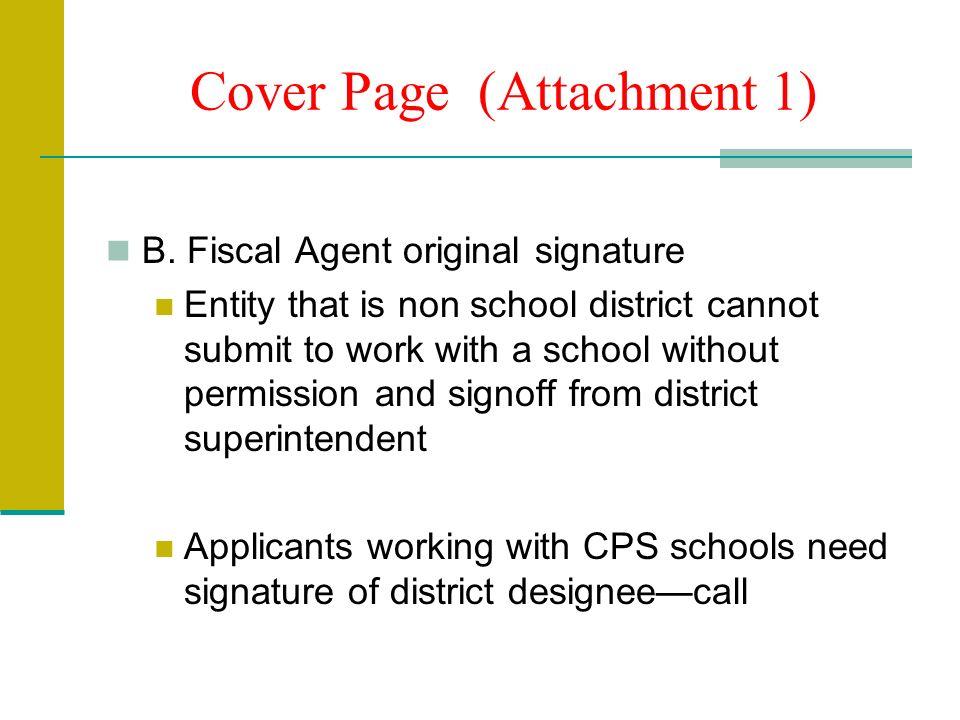 Cover Page (Attachment 1) B.