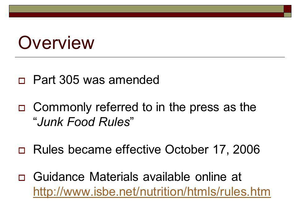 Overview Part 305 was amended Commonly referred to in the press as theJunk Food Rules Rules became effective October 17, 2006 Guidance Materials available online at http://www.isbe.net/nutrition/htmls/rules.htm http://www.isbe.net/nutrition/htmls/rules.htm
