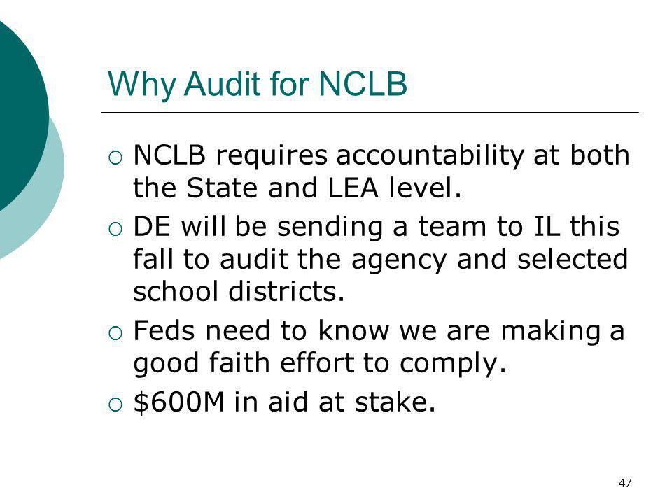 47 Why Audit for NCLB NCLB requires accountability at both the State and LEA level. DE will be sending a team to IL this fall to audit the agency and