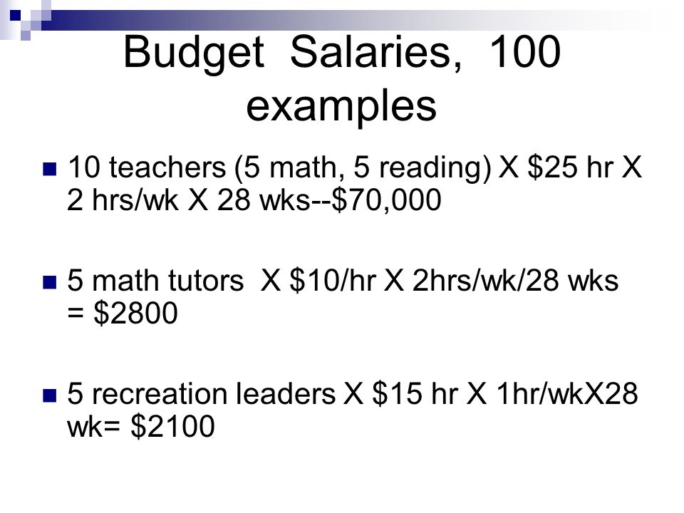 Budget Salaries, 100 examples 10 teachers (5 math, 5 reading) X $25 hr X 2 hrs/wk X 28 wks--$70,000 5 math tutors X $10/hr X 2hrs/wk/28 wks = $ recreation leaders X $15 hr X 1hr/wkX28 wk= $2100