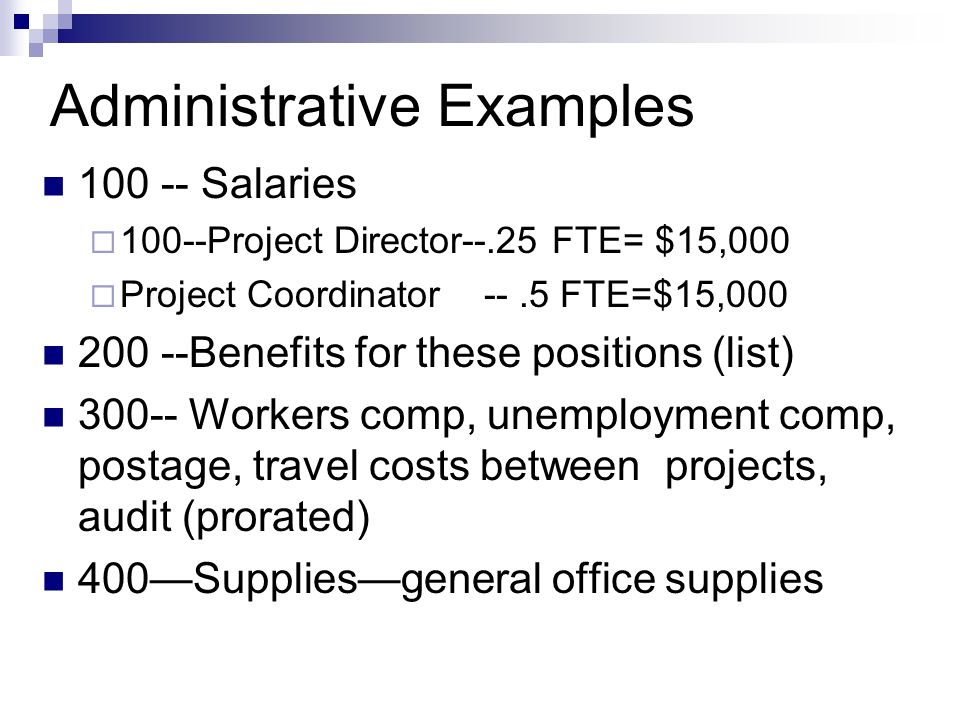 Administrative Examples Salaries 100--Project Director--.25 FTE= $15,000 Project Coordinator --.5 FTE=$15, Benefits for these positions (list) Workers comp, unemployment comp, postage, travel costs between projects, audit (prorated) 400Suppliesgeneral office supplies