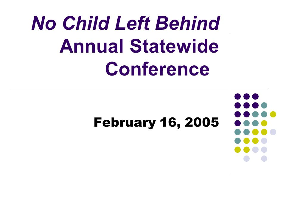 No Child Left Behind Annual Statewide Conference Changes Under Consideration Students with Disabilities Subgroup size Include those who are on IEPs for monitoring or transition purposes Revising reading levels of questions