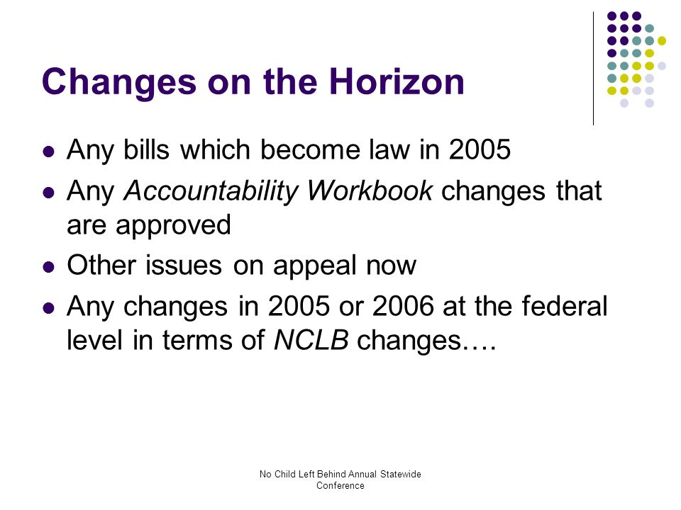 No Child Left Behind Annual Statewide Conference Changes on the Horizon Any bills which become law in 2005 Any Accountability Workbook changes that are approved Other issues on appeal now Any changes in 2005 or 2006 at the federal level in terms of NCLB changes….