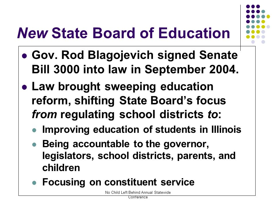 No Child Left Behind Annual Statewide Conference New State Board of Education Gov.