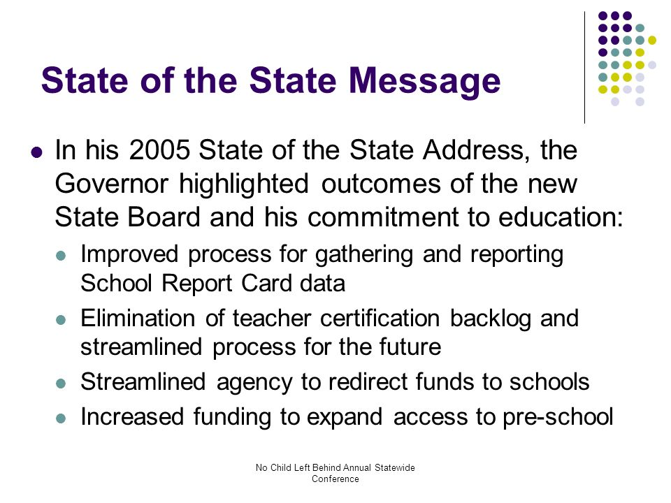 No Child Left Behind Annual Statewide Conference Accountability Workbook changes