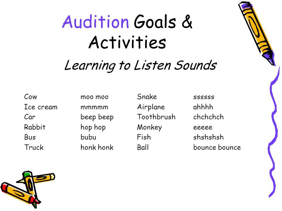 Audition Goals & Activities Learning to Listen Sounds Cowmoo mooSnakessssss Ice cream mmmmmAirplaneahhhh Carbeep beepToothbrush chchchch Rabbit hop hopMonkeyeeeee BusbubuFishshshshsh Truck honk honkBallbounce bounce