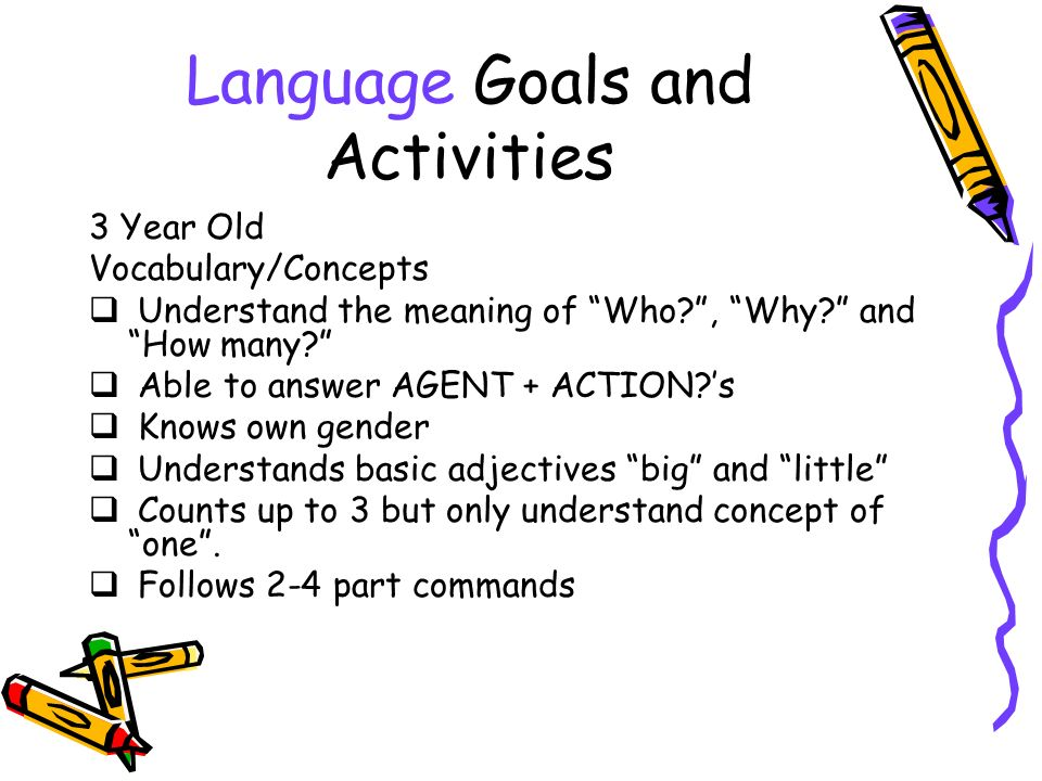 Language Goals and Activities 3 Year Old Vocabulary/Concepts Understand the meaning of Who , Why.