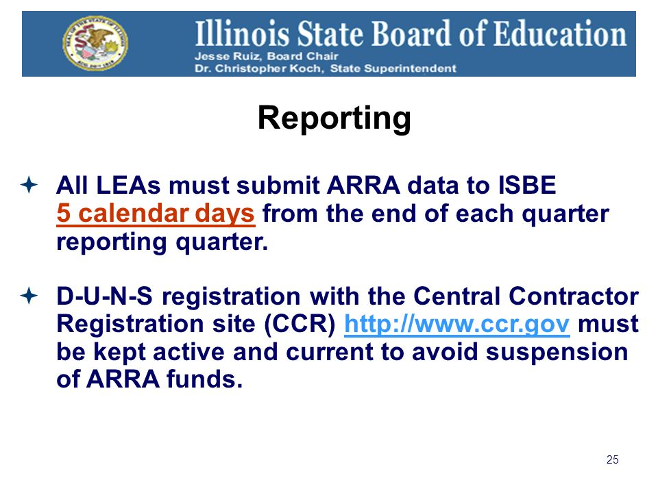 25 Reporting All LEAs must submit ARRA data to ISBE 5 calendar days from the end of each quarter reporting quarter. D-U-N-S registration with the Cent