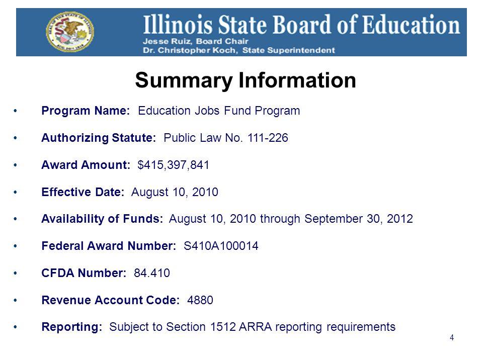 4 Summary Information Program Name: Education Jobs Fund Program Authorizing Statute: Public Law No.