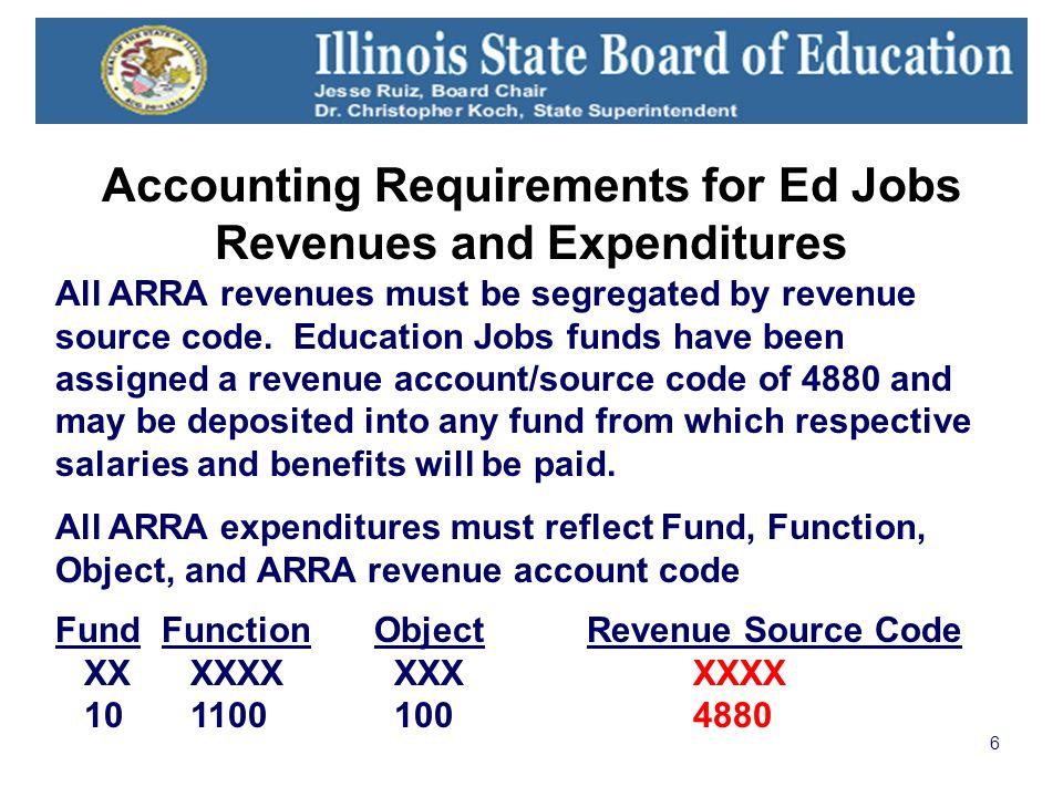 6 All ARRA revenues must be segregated by revenue source code.
