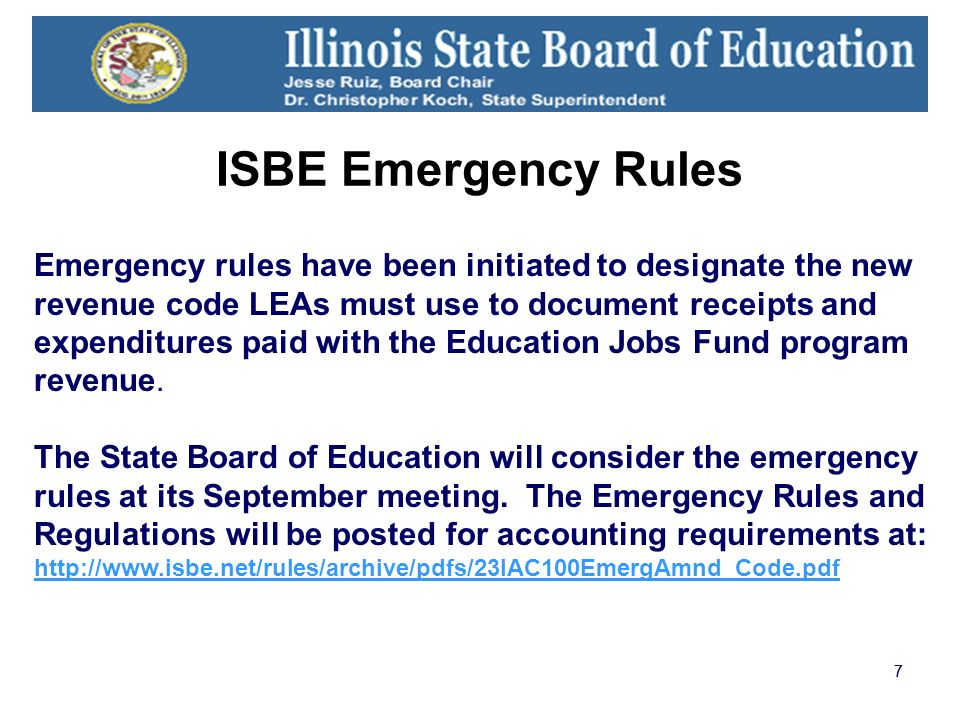 77 Emergency rules have been initiated to designate the new revenue code LEAs must use to document receipts and expenditures paid with the Education Jobs Fund program revenue.