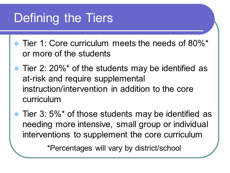 Defining the Tiers Tier 1: Core curriculum meets the needs of 80%* or more of the students Tier 2: 20%* of the students may be identified as at-risk and require supplemental instruction/intervention in addition to the core curriculum Tier 3: 5%* of those students may be identified as needing more intensive, small group or individual interventions to supplement the core curriculum *Percentages will vary by district/school