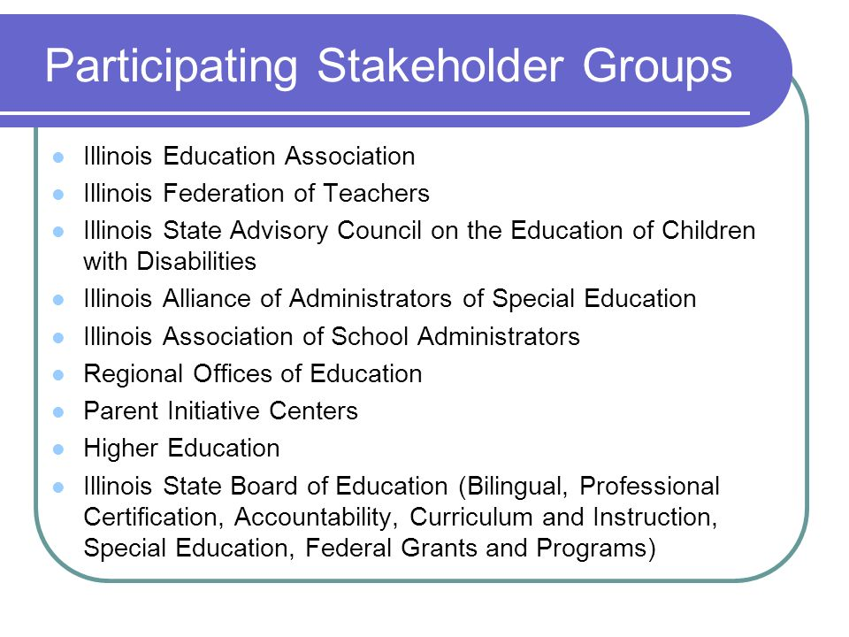 Participating Stakeholder Groups Illinois Education Association Illinois Federation of Teachers Illinois State Advisory Council on the Education of Children with Disabilities Illinois Alliance of Administrators of Special Education Illinois Association of School Administrators Regional Offices of Education Parent Initiative Centers Higher Education Illinois State Board of Education (Bilingual, Professional Certification, Accountability, Curriculum and Instruction, Special Education, Federal Grants and Programs)