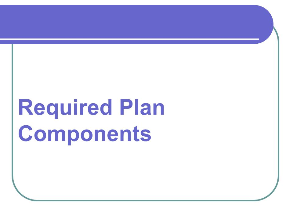 Required Plan Components