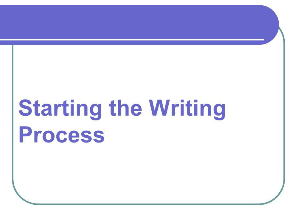 Starting the Writing Process