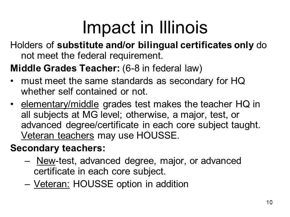 10 Impact in Illinois Holders of substitute and/or bilingual certificates only do not meet the federal requirement.