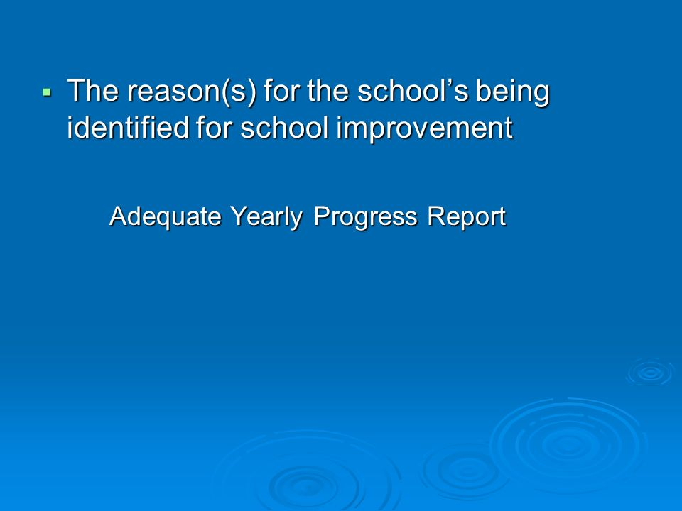 The reason(s) for the schools being identified for school improvement The reason(s) for the schools being identified for school improvement Adequate Yearly Progress Report