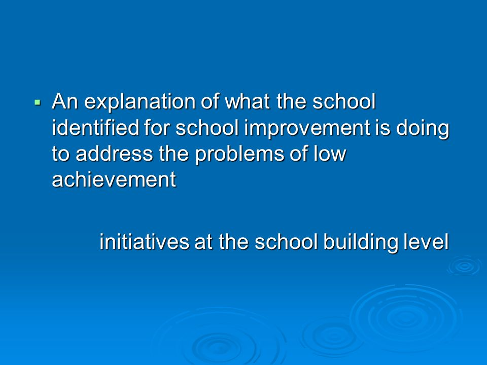 An explanation of what the school identified for school improvement is doing to address the problems of low achievement An explanation of what the sch