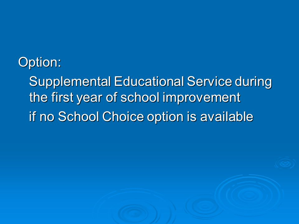 Option: Supplemental Educational Service during the first year of school improvement Supplemental Educational Service during the first year of school
