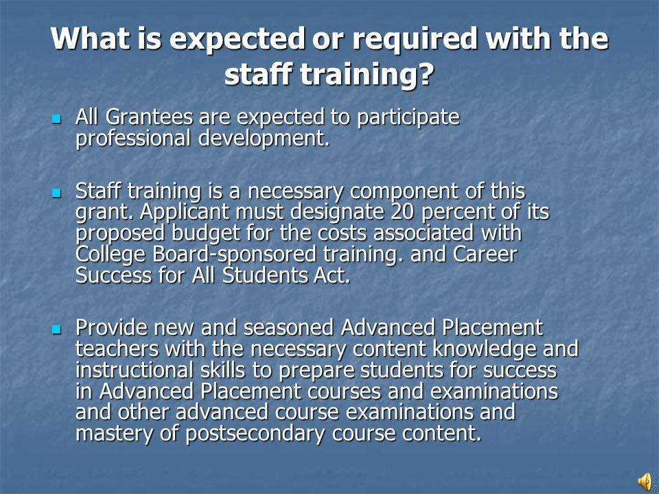 All Grantees are expected to participate professional development.