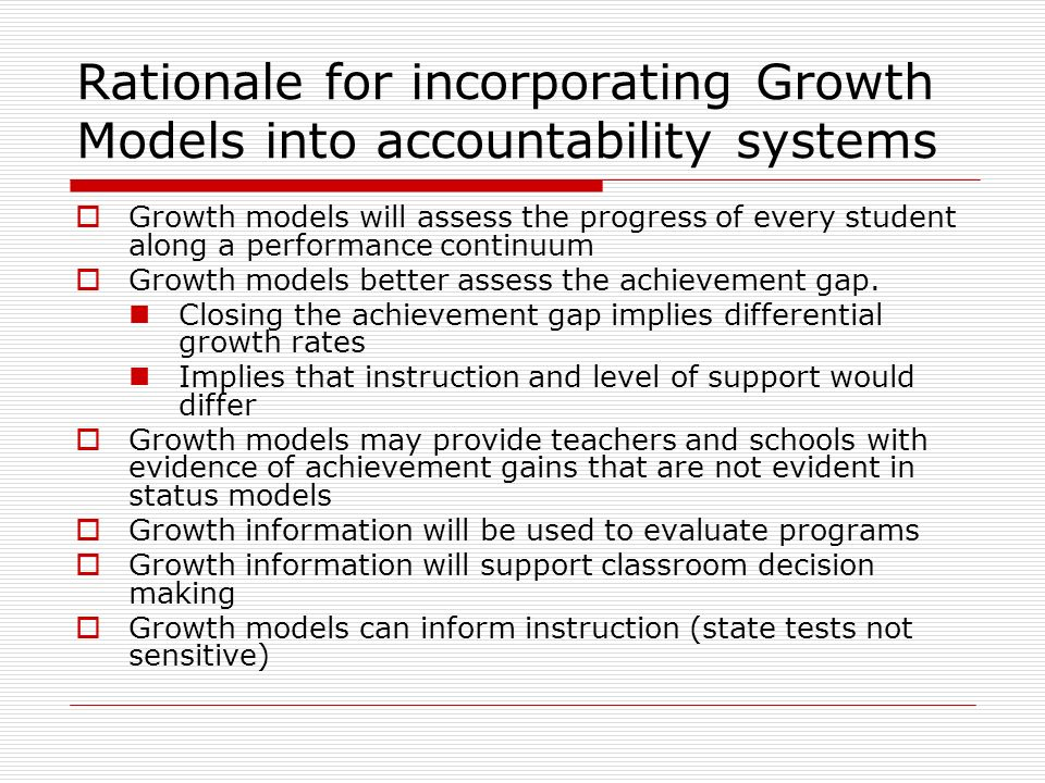 Exploratory data analysis Average scores by time by trade Assesses linearity of growth Consider consequences of false positives and false negatives Achievement Gap pg.