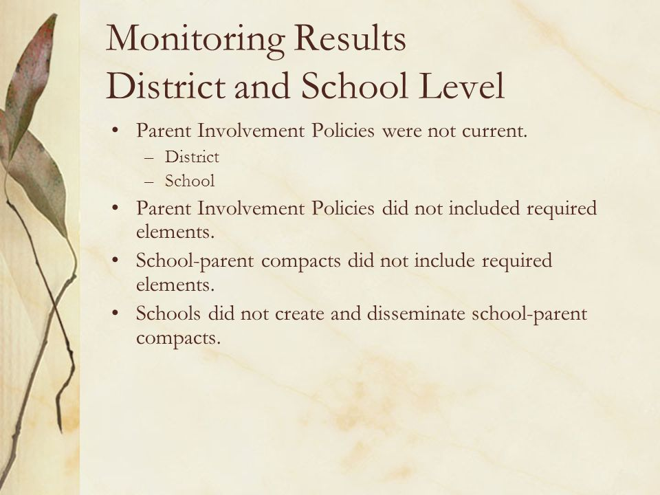 Monitoring Results District and School Level Parents not involved in annually reviewing parent involvement policies and school-parent compacts and revising as needed.