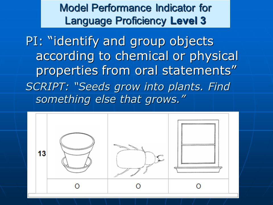 Model Performance Indicator for Language Proficiency Level 3 PI: identify and group objects according to chemical or physical properties from oral sta