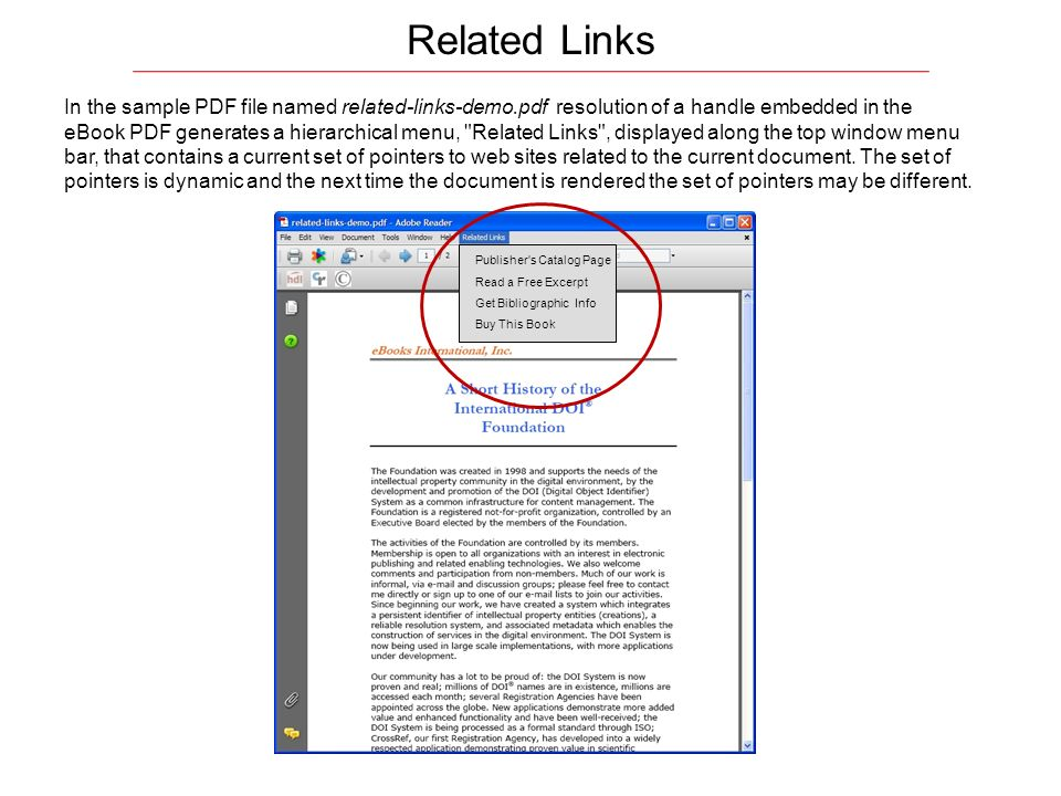 In the sample PDF file named related-links-demo.pdf resolution of a handle embedded in the eBook PDF generates a hierarchical menu,