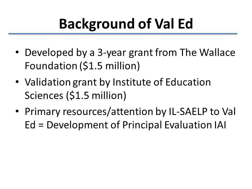 Background of Val Ed Developed by a 3-year grant from The Wallace Foundation ($1.5 million) Validation grant by Institute of Education Sciences ($1.5