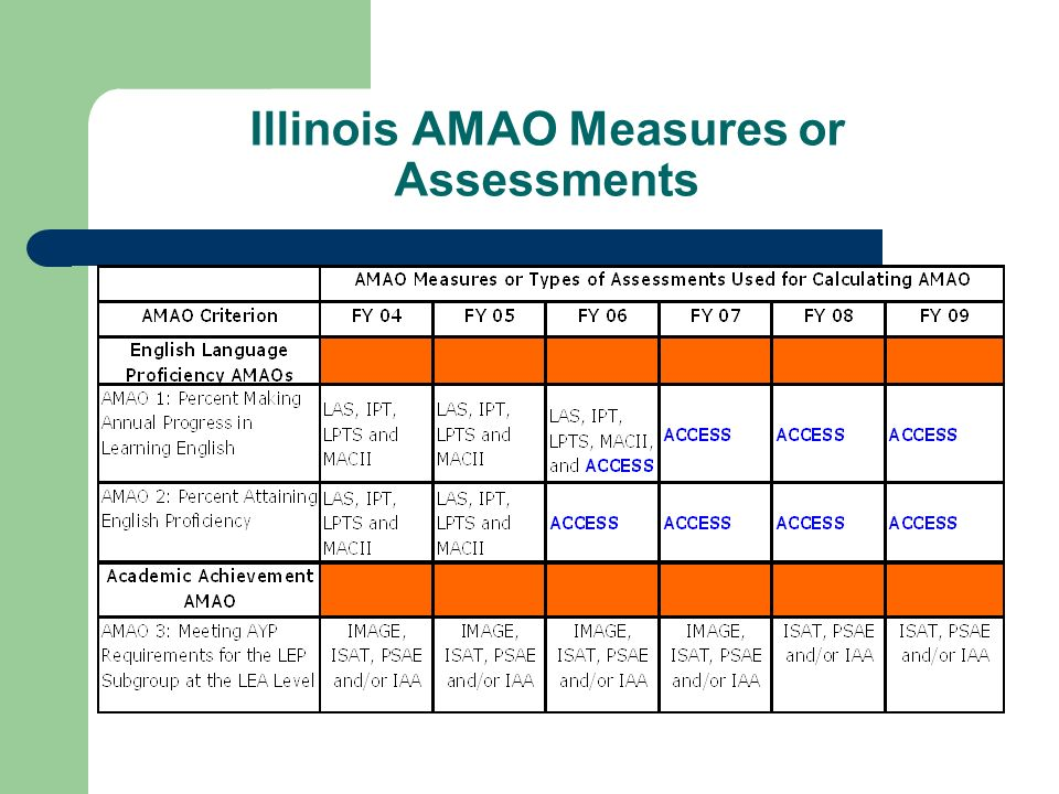 Illinois AMAO Measures or Assessments