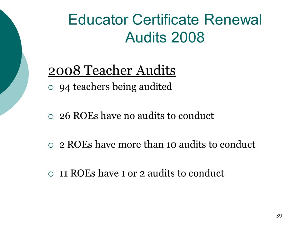 39 Educator Certificate Renewal Audits 2008 2008 Teacher Audits 94 teachers being audited 26 ROEs have no audits to conduct 2 ROEs have more than 10 audits to conduct 11 ROEs have 1 or 2 audits to conduct