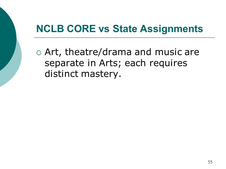 55 NCLB CORE vs State Assignments Art, theatre/drama and music are separate in Arts; each requires distinct mastery.