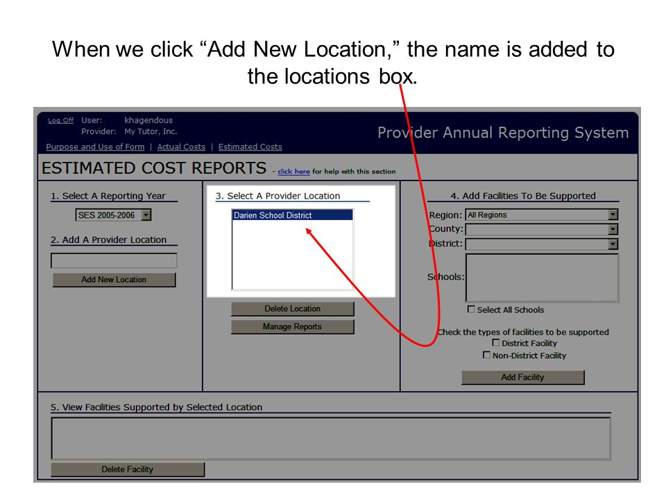 When we click Add New Location, the name is added to the locations box.