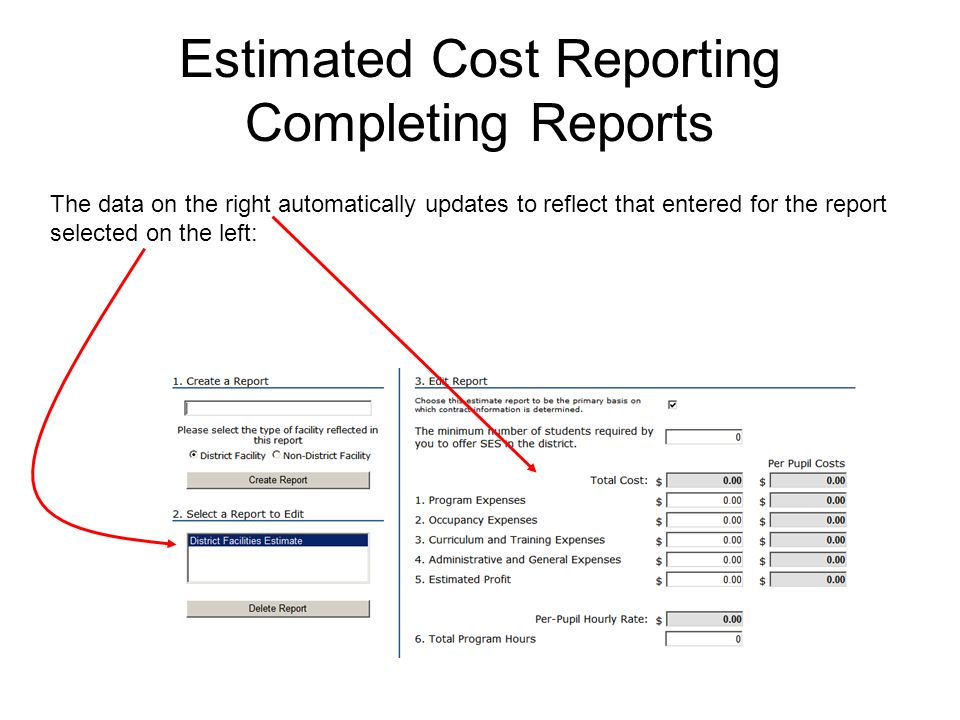 Estimated Cost Reporting Completing Reports The data on the right automatically updates to reflect that entered for the report selected on the left: