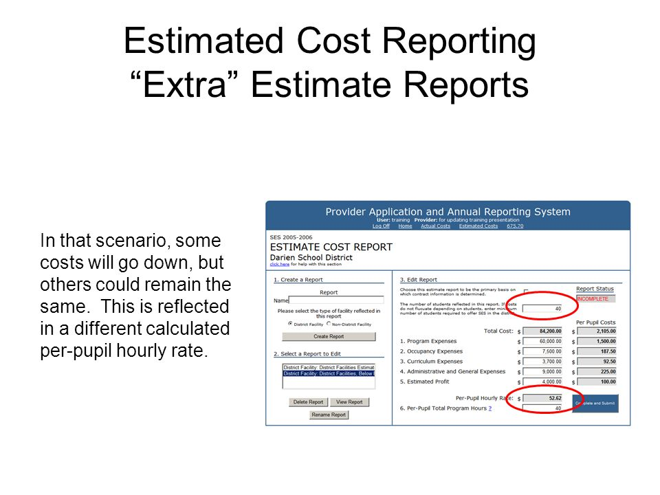 Estimated Cost Reporting Extra Estimate Reports In that scenario, some costs will go down, but others could remain the same. This is reflected in a di
