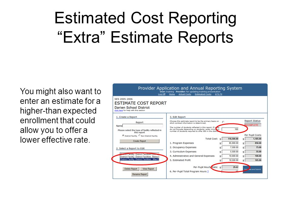 Estimated Cost Reporting Extra Estimate Reports You might also want to enter an estimate for a higher-than expected enrollment that could allow you to offer a lower effective rate.