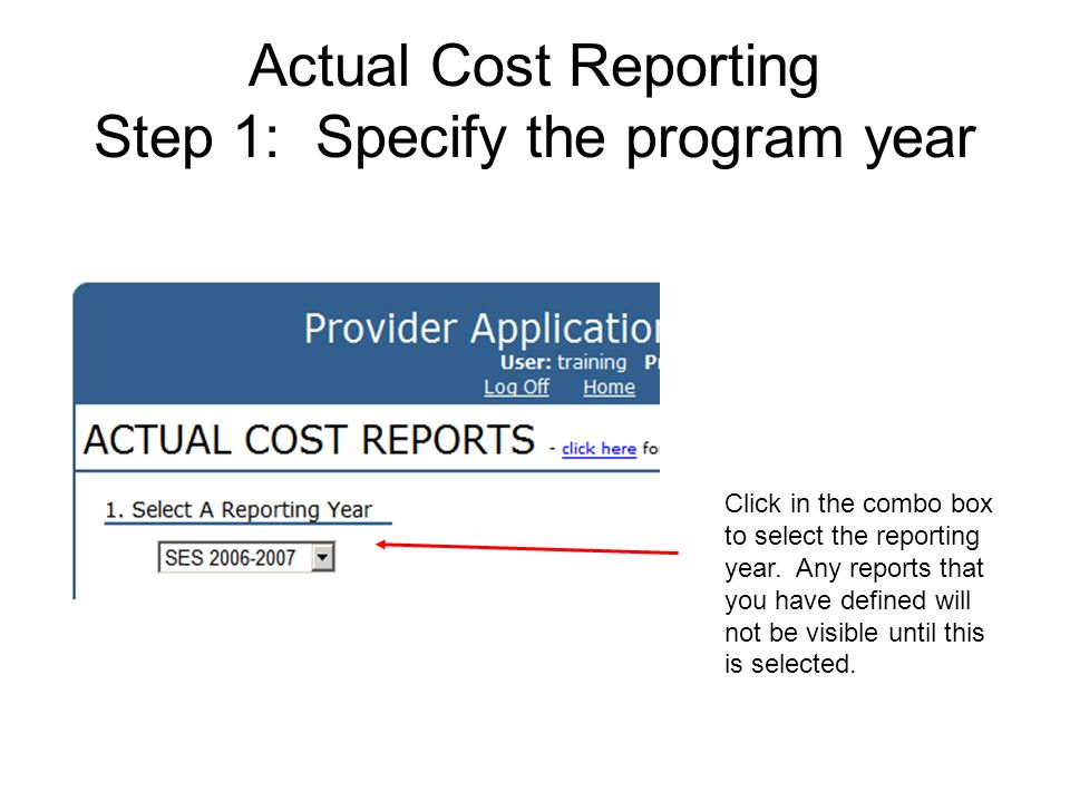 Actual Cost Reporting Step 1: Specify the program year Click in the combo box to select the reporting year. Any reports that you have defined will not