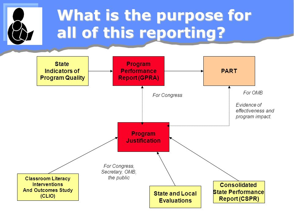 What is the purpose for all of this reporting? State Indicators of Program Quality Program Performance Report (GPRA) PART Program Justification State